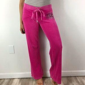 JUICY COUTURE Y2K Pink Velour Tracksuit Pants S